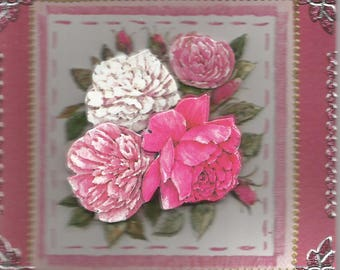 Women and flowers, 3D card made animals - birthday, thank you, get well, retirement, mother's day, flowers