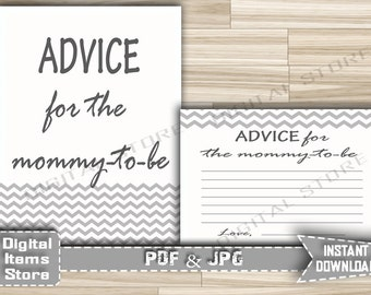 Advice For Parents and Advice For Mommy To Be - Advice Cards Sign Gray White Chevron - Baby Shower Advice Chevron - INSTANT DOWNLOAD - gc1