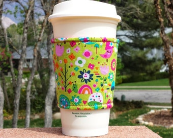 FREE SHIPPING UPGRADE with minimum -  Fabric coffee cozy / cup sleeve / coffee sleeve / cup cozy // spring happiness