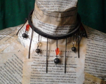 Beaded Leather and chains necklace ~ leather choker ~ black and red