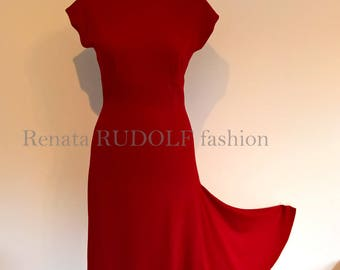 Love2tango Woman Warm red DRESS MadeToOrder for Erica /Tango Milonga Pinup Designer fashion Handmade Boat neck line
