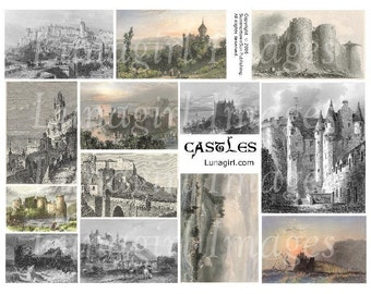 CASTLES digital collage sheet, antique art vintage postcards, Victorian fairy tales knights, Medieval fantasy backgrounds, ephemera DOWNLOAD