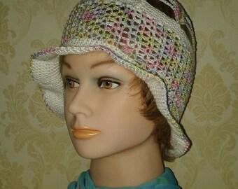 Cloche hat-Pastel color viscose crochet hat-Lady's cotton sun hat-Summer holiday hat-Crochet cotton summer hat-Summer beach hat-Size S/M
