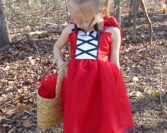 Little Red Riding Hood Costume: Black White and Red tutu dress, cape, birthday party, adjustable, easy on and off wrap around dress