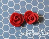 Red Rose Polymer Clay Earrings