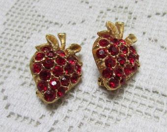 vintage 60's forbidden fruit red rhinestones strawberries scatter  pins pair brooch