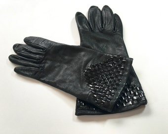 80s Leather Gloves | Black Patent Leather Woven Gloves