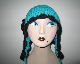 Women's Blue and Black Earflap Hat Crocheted by SuzannesStitches, Azure Blue Earflap Hat, Funky Earflap Hat, Girl's Earflap Hat, Earflap Hat