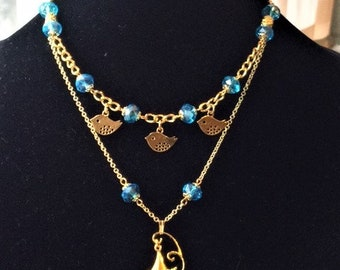 Electric Blue and Gold Multi-Strand Bird Pendant Necklace; Bird Necklace; Bird Charm and Birdcage Necklace; Multi-Strand Bird Necklace