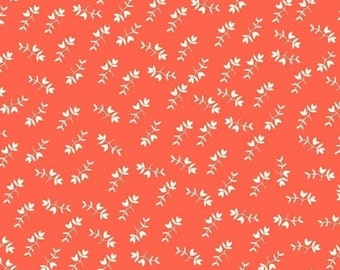 Mono Floral in Coral from Maribel by Annabel Wrigley- 1/2 yard