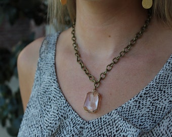 Gold Rimmed Faceted Crystal on Antique Brass Chain
