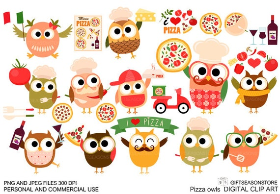 Pizza owl Digital clip art for Personal and Commercial use