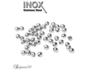 50 beads spacers 2.5 mm round stainless steel set M01043