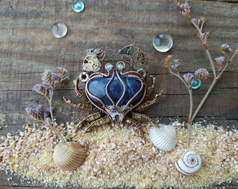 Blue crab pin, crab brooch, crab jewelry, zodiac, zodiac signs
