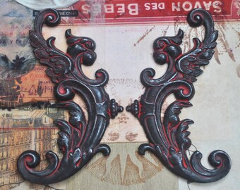 TWO Winged Gargoyles Brass Stampings, Left and Right, Black and Red Patina, Gothic, Scrapbooking, Jewelry Supplies
