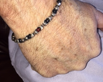 Men Sterling Chain Bracelet | Prince Charming | Mens Cuff or Bangle, Sterling Setting with Black Onyx and Red Carnelian  Stones