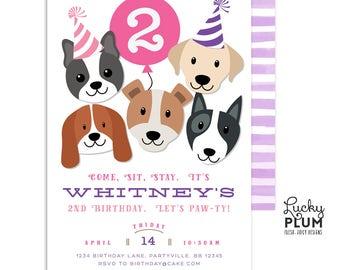 Dog birthday invitation puppy party invitation puppy girls puppy party invitation girls dog birthday invitation puppy birthday invitation puppy dog birthday invitation digital dg03 filmwisefo