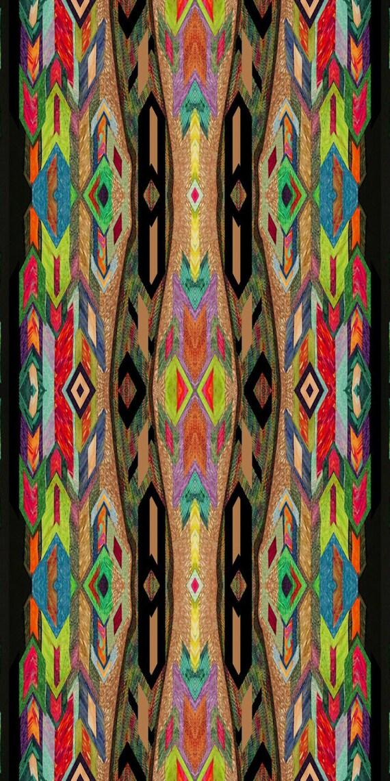 Artisan Made Fleece Fiber Art Fabric Ethnic Southwestern By The Yard Home  Blanket
