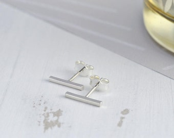 Sterling Silver Bar Stud Earrings - Bar Studs - Thin Line Stud Earrings - Minimalist Earrings - Rectangular