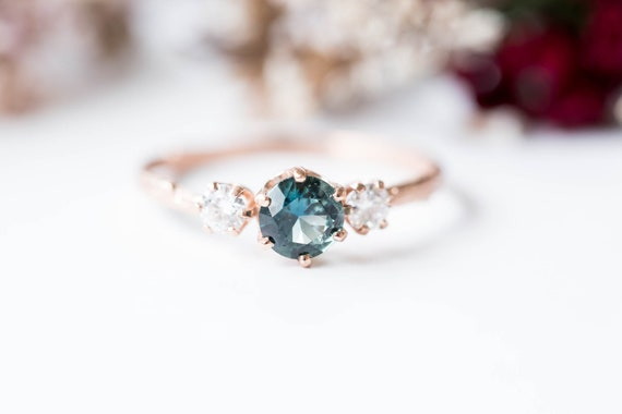 Teal sapphire three stone 14k gold twig engagement ring, three stone sapphire moissanite engagement ring, blue green sapphire gold twig ring