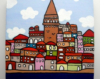 Istanbul Illustration, Galata Tower, Original Acrylic Painting, Abstract Painting, 6x6 Canvas Painting