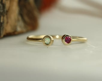 Personalized Opal And Ruby Adjustable Thin Stacking Ring In 14K Yellow Gold Ring Dual Birthstone Ring