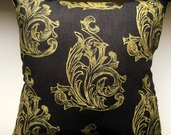 Gold Acanthus Scrolls- Hand Block Printed - Black Linen and Canvas Throw Pillow - Cover