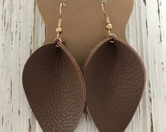 Beautiful Brown Leather Petal Earrings, Joanna Gaines Inspired, Genuine leather, lightweight leather earrings,