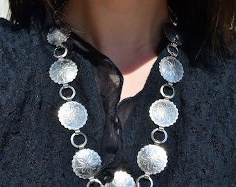 Vintage Southwest Design Silver Metal Sand Dollar Necklace and Bracelet Set