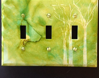 Lime Green w/ White Tree Switch Plate- Handpainted Wall Decor