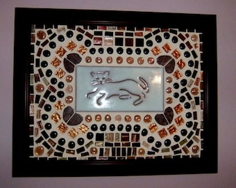 Framed mosaic tile with stylized cat