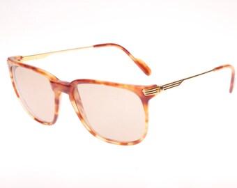 Must de Cartier Paris Lumen squared honey havana & gold sunglasses handmade in France, NOS with original pouch