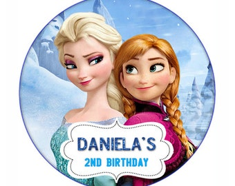 Disney Frozen Round birthday Favor Stickers label
