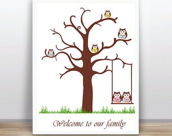 INSTANT DOWNLOAD -Printable thumbprint tree guest book 11x14 inches Baby Shower, etc -  Owls - Instant Download