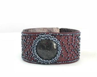 Plum and gray bracelet blue