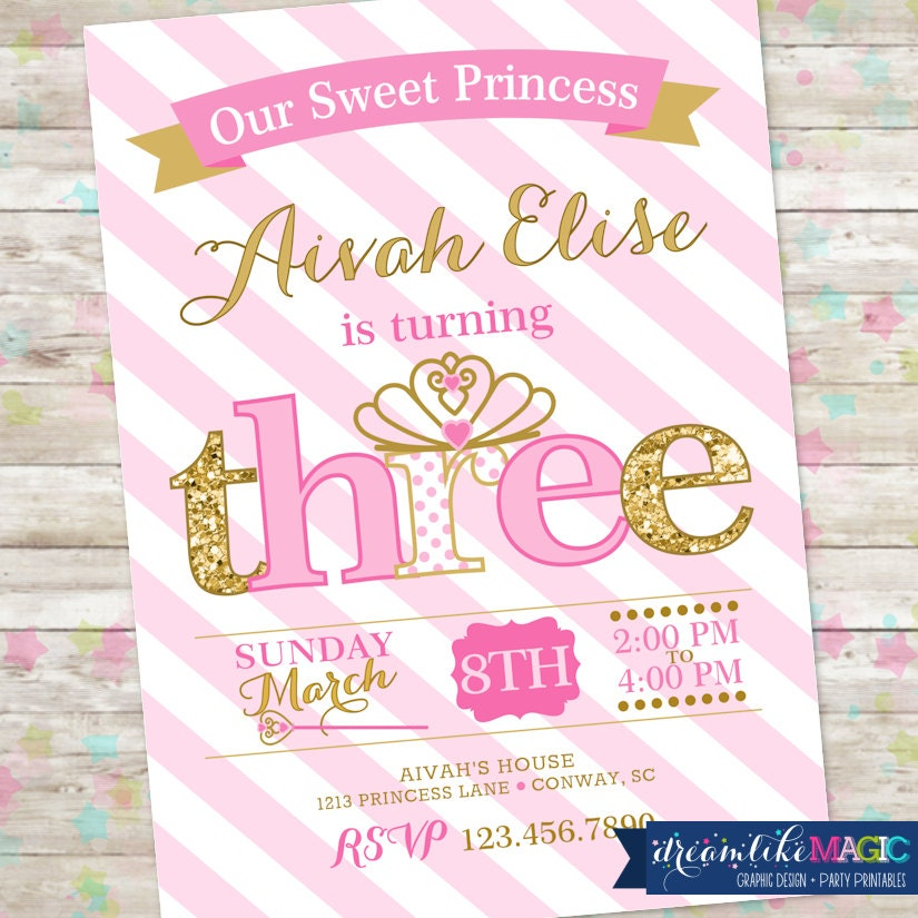 Princess Birthday Invitation 3rd Birthday Party Invite Pink