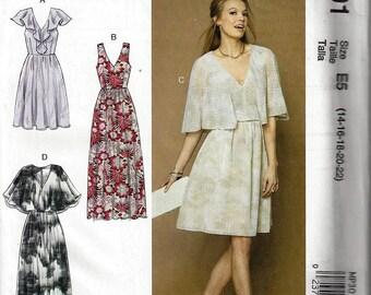 McCALLS M7566/MP301 Kathy Davis Scatter Joy Misses' V-Neck, Ruffle, and Cape-Style Dresses Misses Sz 14-22 New Uncut