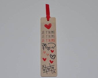 Wooden bookmark - I love you-red