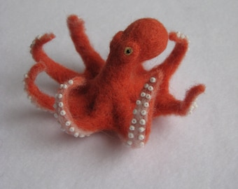 Needle Felted Red Octopus. Miniature Toy