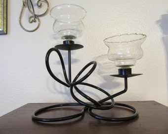 Candle or Tea Light Holder Unique One of A Kind Gothic Vintage Handmade Wrought Iron Abstract  Centerpiece or Gift Home Decor