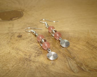 Natural rock crystal stones and swallow charm rose quartz earrings