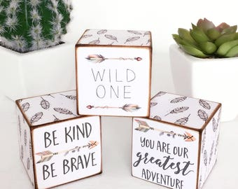 Set of Tribal Quote Stacking Wooden Cubes...