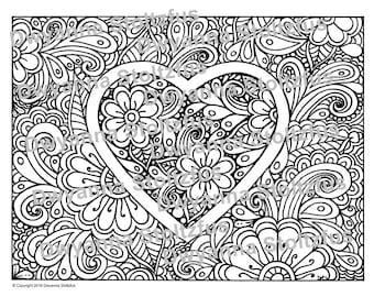 Hearts and Flowers Coloring Page JPG