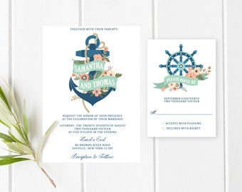 Wedding Invitation, Printable Wedding Invitations, Custom Wedding Invites, Anchor Wedding Invitation, Nautical Wedding Invite, Anchor [369]
