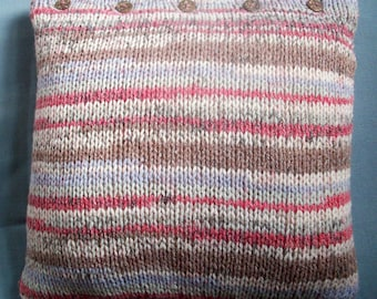 Throw pillow cushion cover hand knit chunky ice blue  brown raspberry striped by SpinningStreak