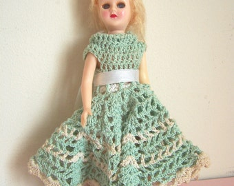 Vintage doll in crochet dress - moveable plastic with sleep blink eyes