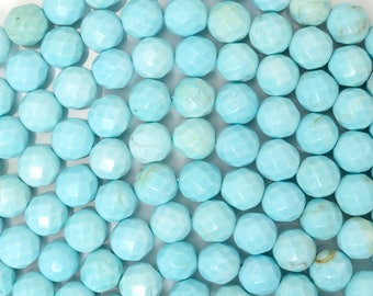"6mm faceted cream blue turquoise round beads 15.5"" strand 38161"