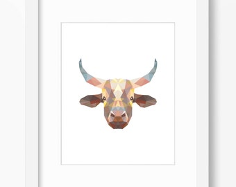 Cow Print, Cow Art, Bull Wall Art, Geometric Cow Print, Bull Wall Print, Origami Cow Print, Cow Face, Geometric Cow Art, Triangle Cow Art