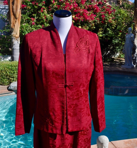 Vintage 90s Miss Dorby Dark Red Maxi Dress and Matching Jacket with Embroidered Roses Sz 10