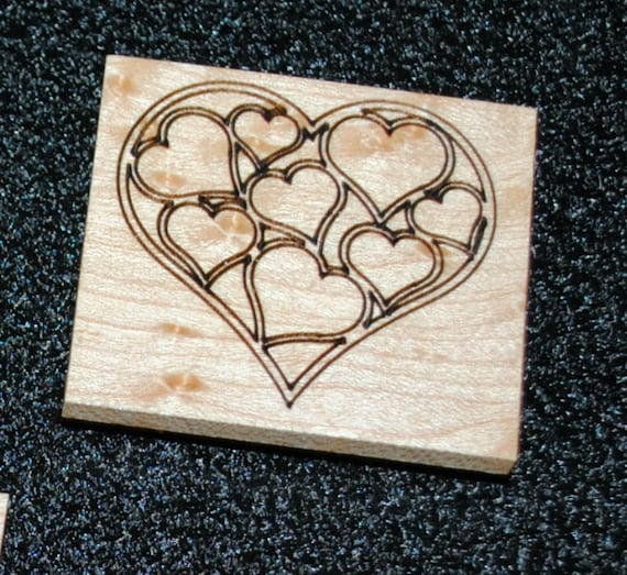 Magnet -Small Wood Magnet- Laser Engraved Hearts in a Heart Magnet on Bird's Eye Maple - Refrigerator Magnet- Recycled Gift - Free Shipping
